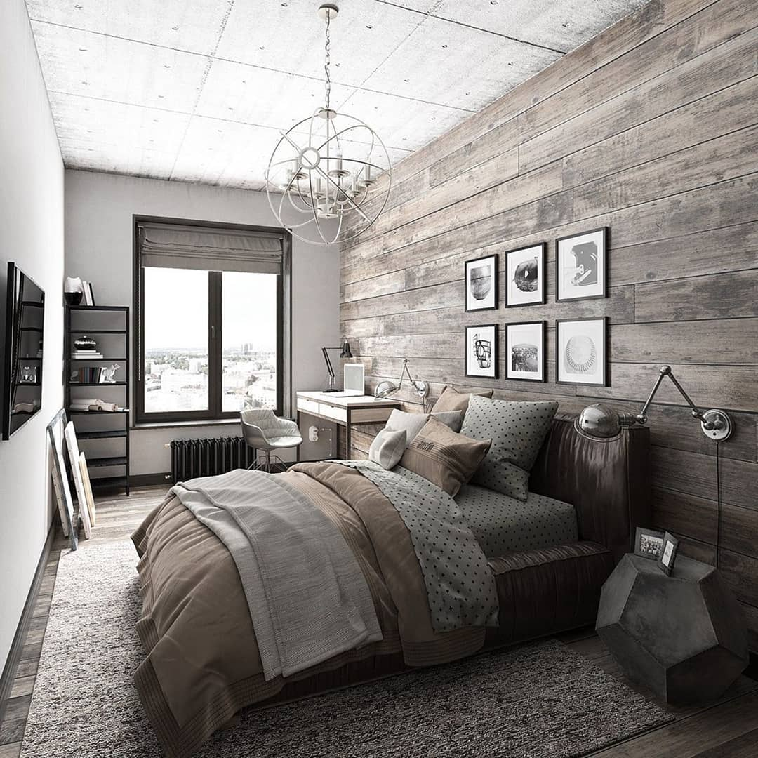 50 industrial bedroom design ideas you can try in 2018 for Mens home decor