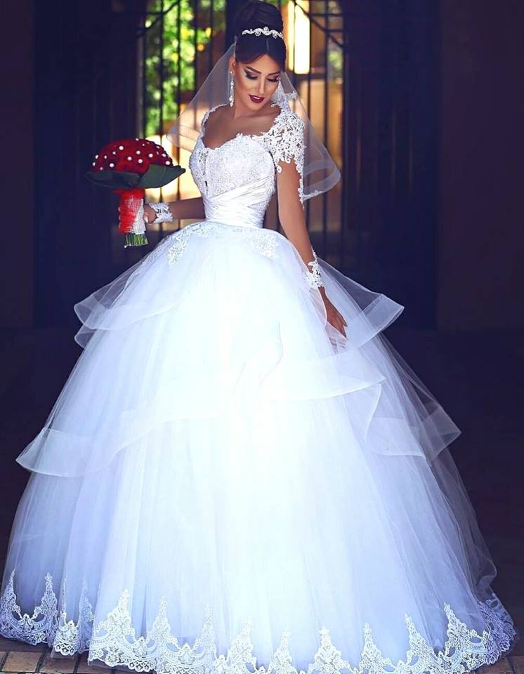 Classy White Fluffy Bridal Gown With Veil