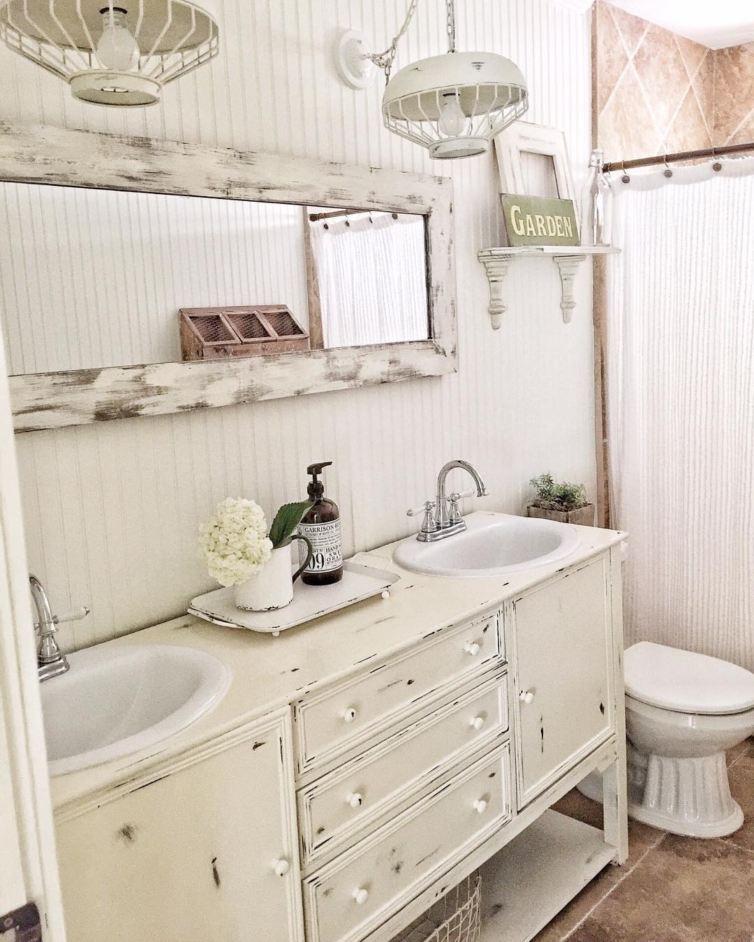 Clean And Refreshing White Rustic Bathroom