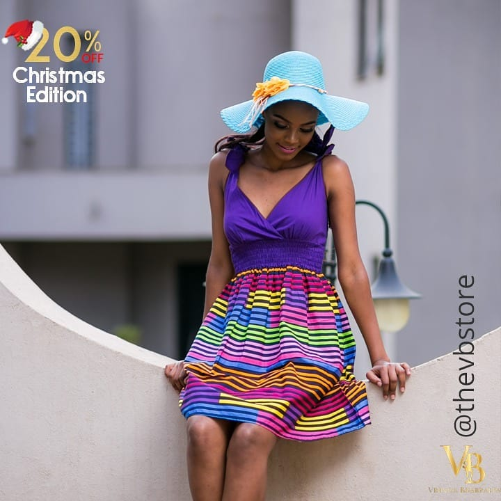 Colorful And Bright Summer Dress With Fancy Hat