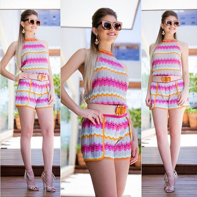 Colorful Romper With Waist Belt