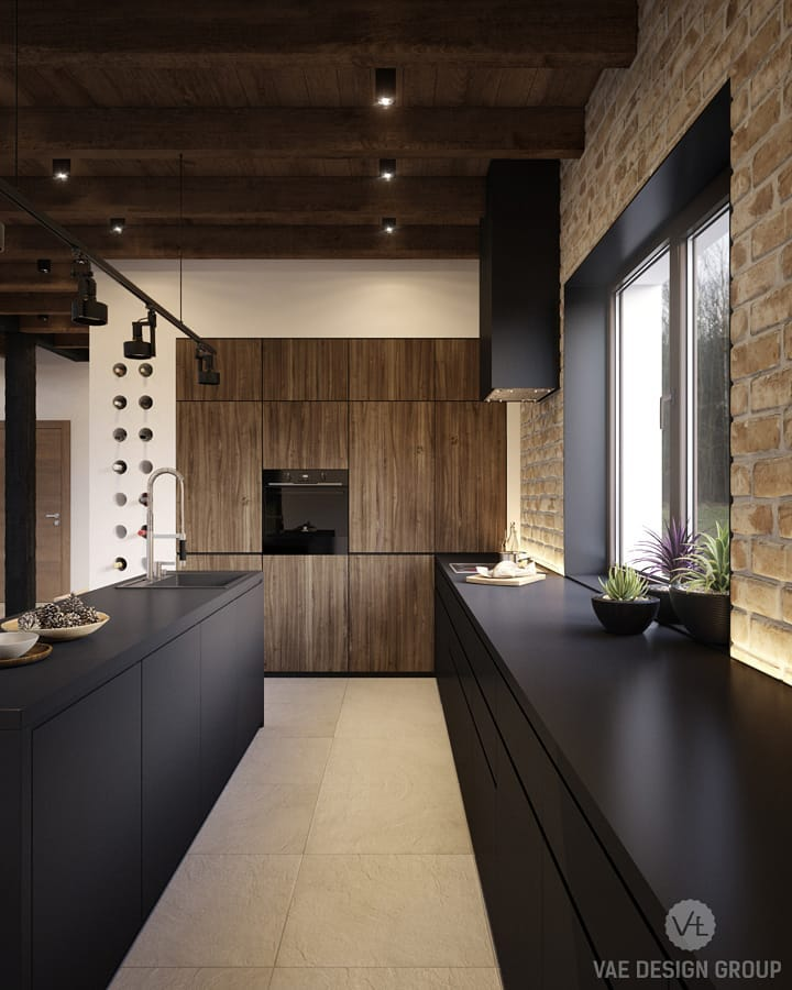 Cool Moody Pallet In Contemporary Kitchen