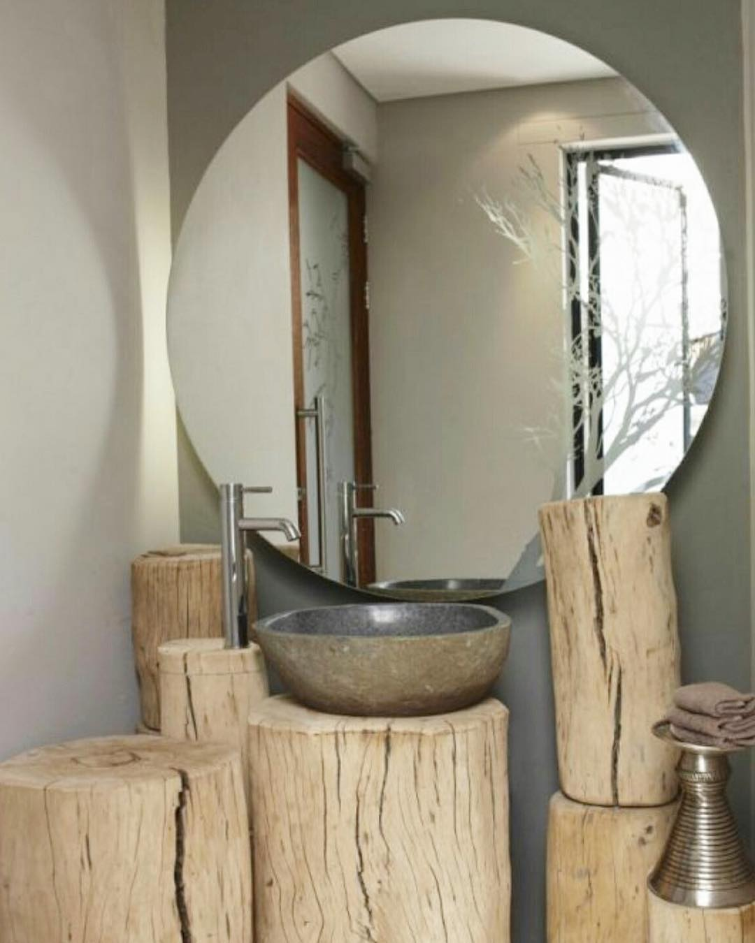 Cool Natural Wood Logs With Grey Walls