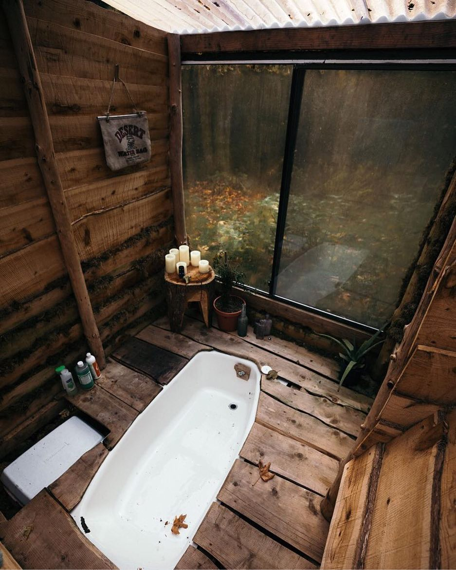 Cozy Rustic Wooden Cabin Bath In Cabin Bathroom
