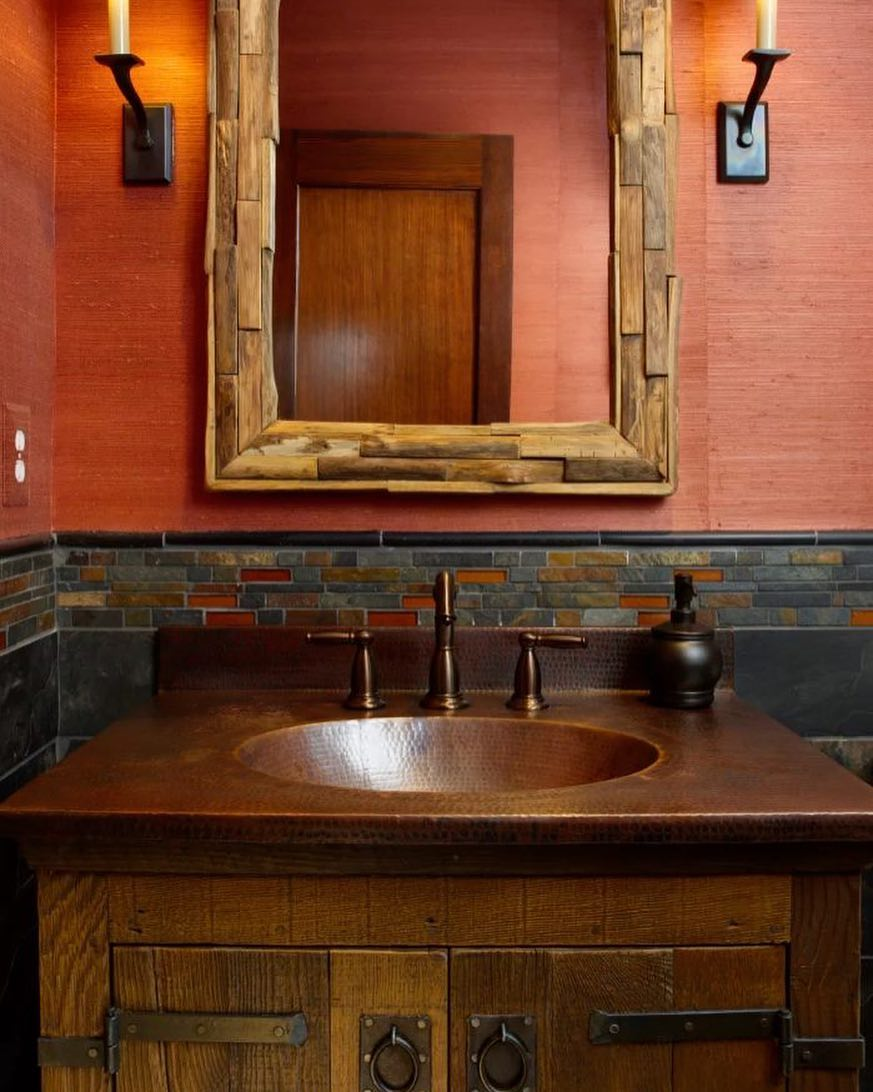 Creative Recycled Copper Sink And Handmade Reclaimed Mirror