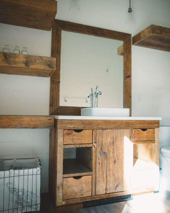 Custom Built Vanity, Floating Shelves, Mirror And Doors In This Modern-Rustic Bathroom