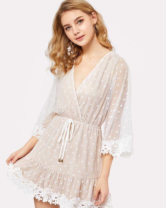 Cute Crochet Trim Mesh Overlay Polka Dot Summer Dress