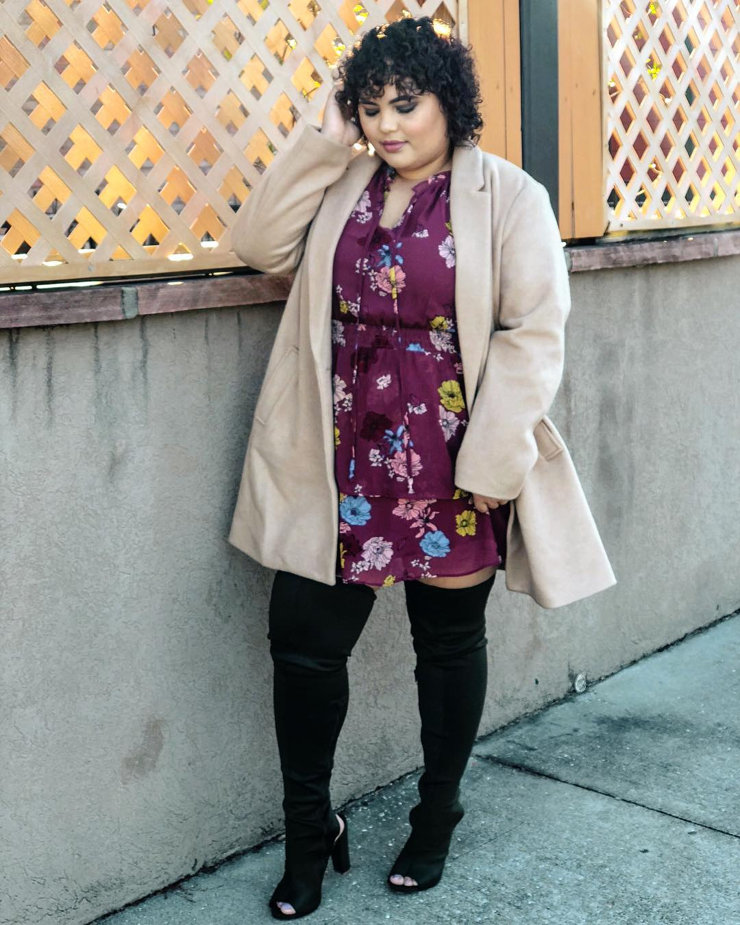 Dashing Floral Top, Warm Coat With Thigh Boots