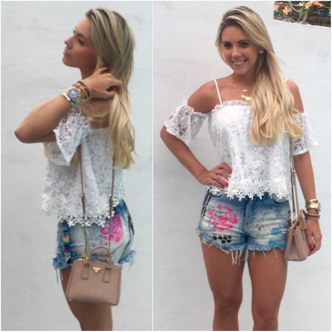 Dashing White Top With Distressed Shorts