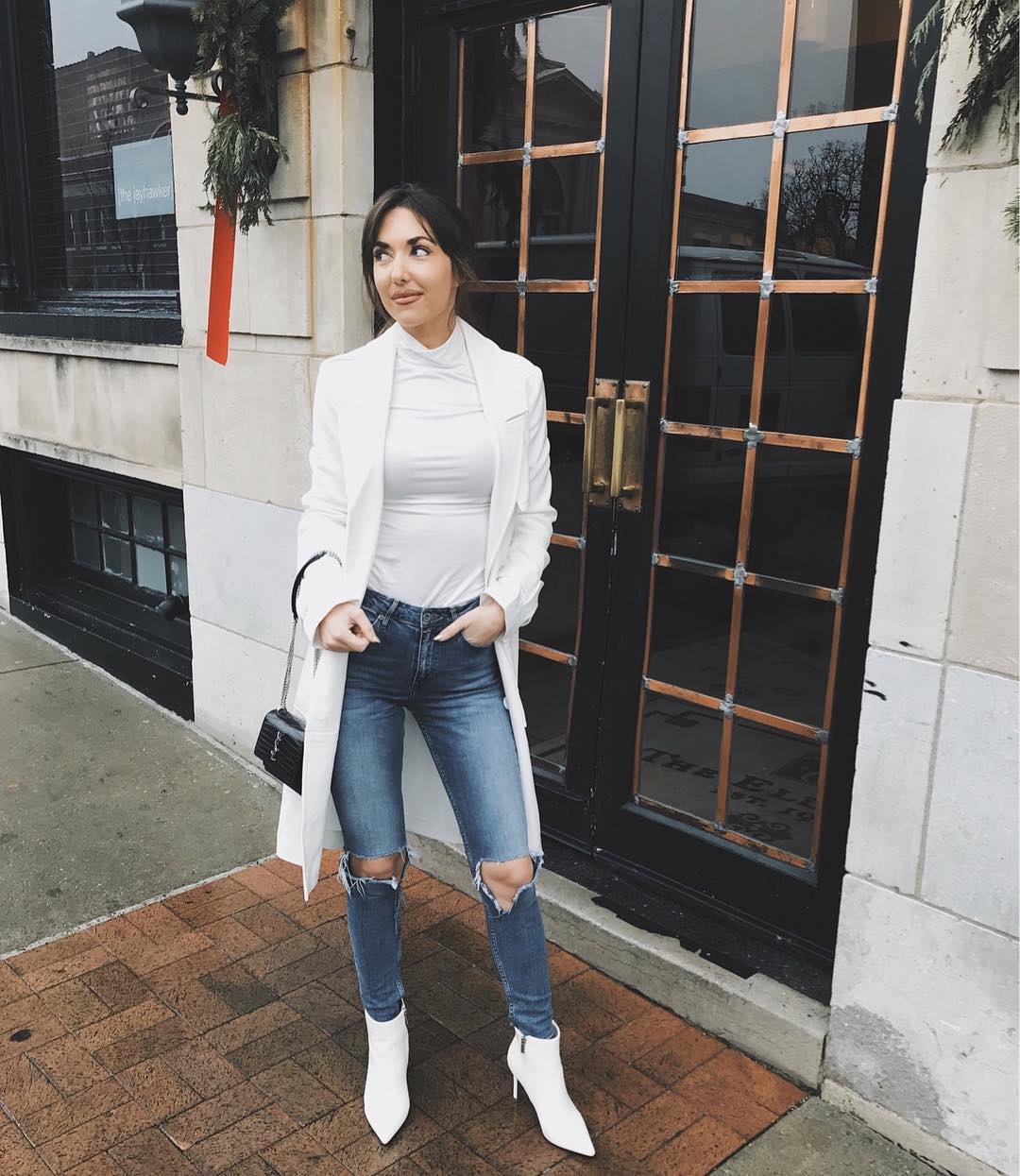 Dazzling White With Distressed Jeans