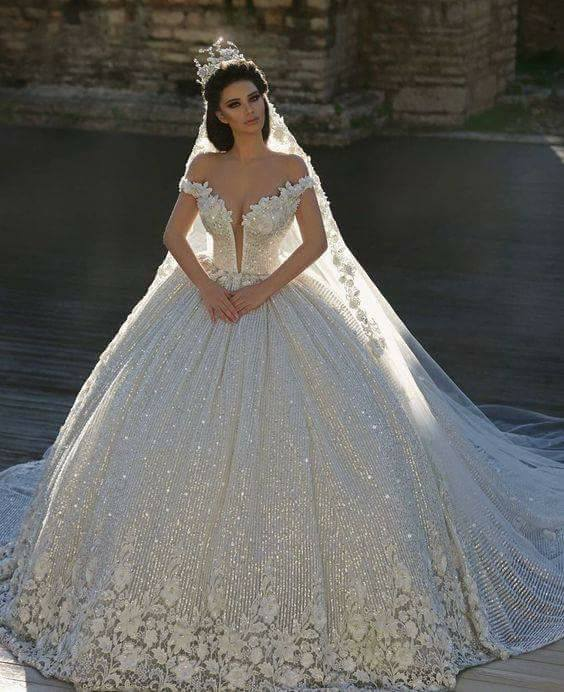 Deep Neckline Cut Wedding Dress For Bride With Crown And Veil