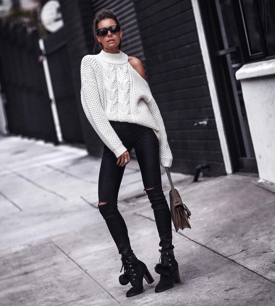 Designer Oversize Sweater With Distressed Jeans And Ankle Shoes