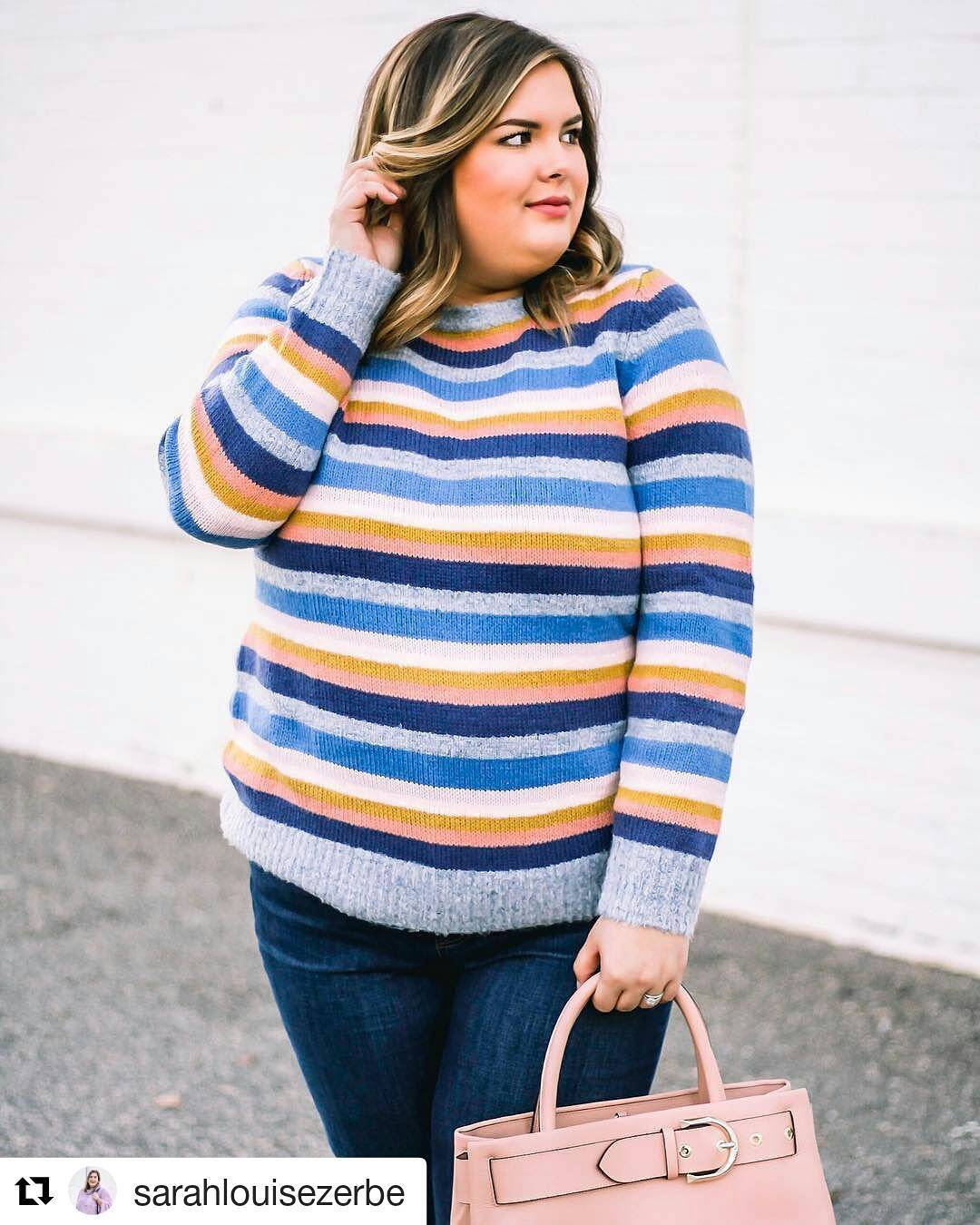 Elegant Stripes Sweater With Denim Jeans