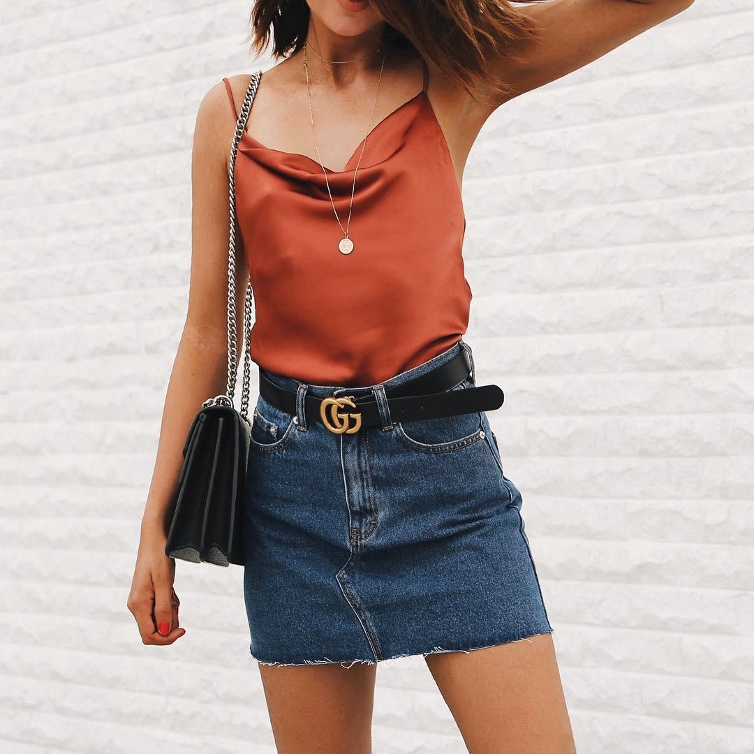 Fabulous Silk Top With Denim Skirt