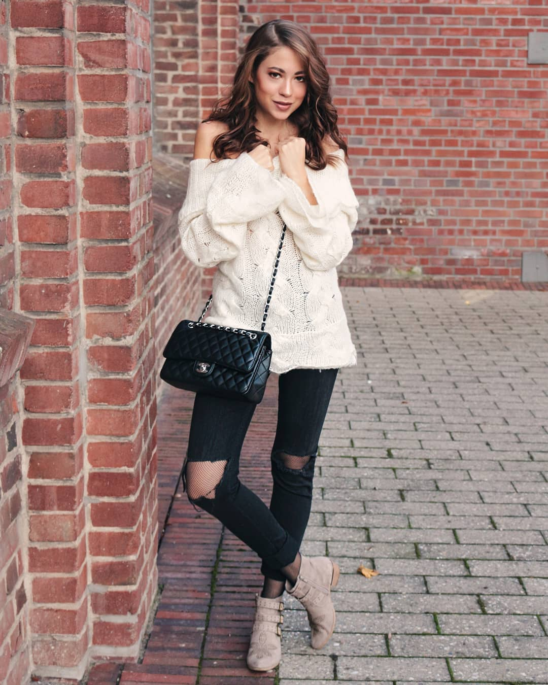 Fantastic Off Shoulder Sweater With Distressed Jeans