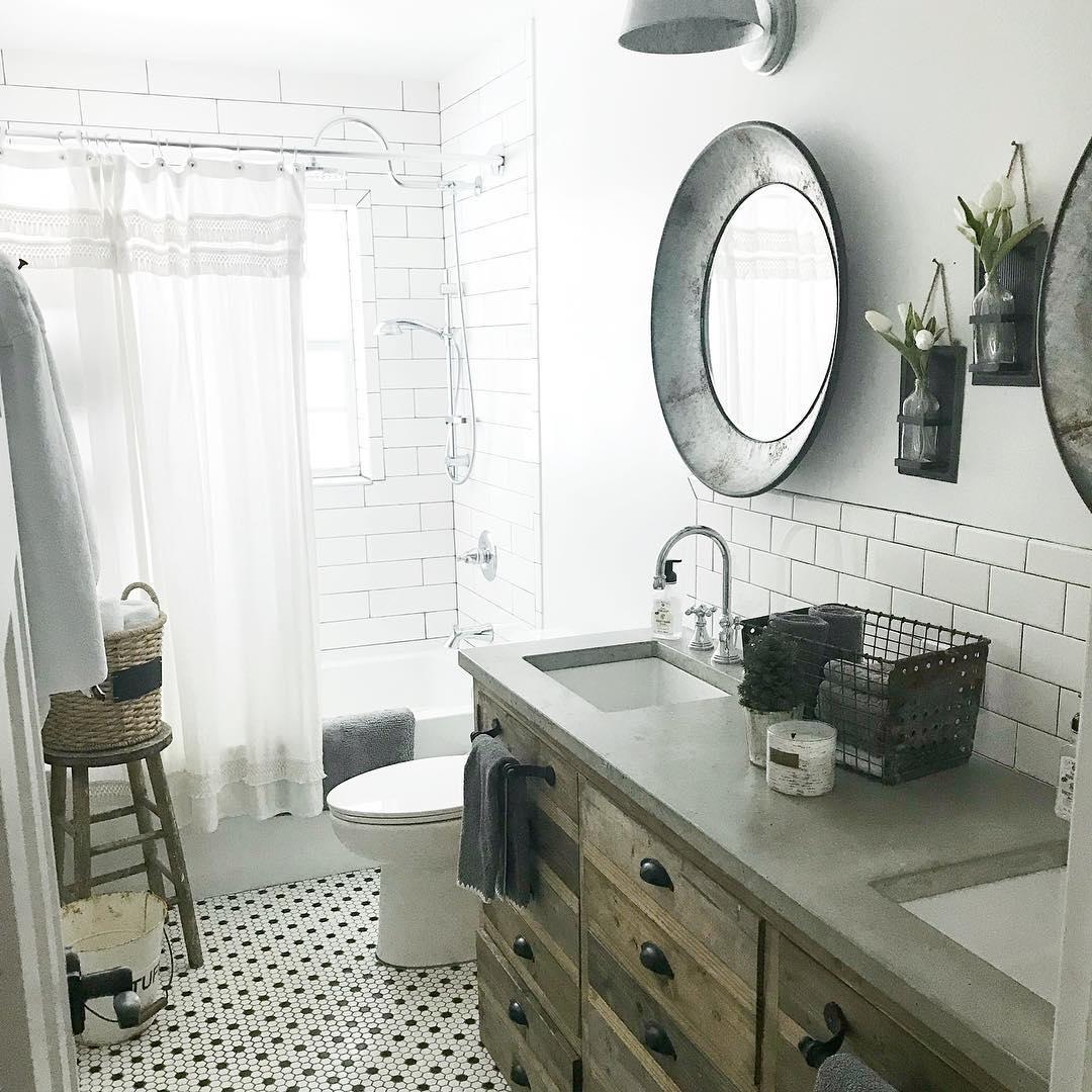 Farmhouse Bathroom With Concrete Countertop