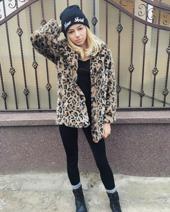 Glamorous Animal Print Jacket With Legging, Ankle Shoes And Cap