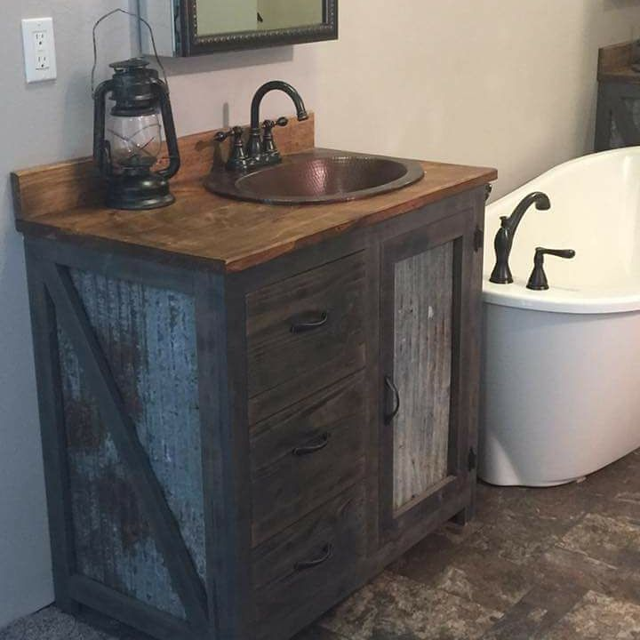 Gorgeous Custom Made Rustic Vanity With Lamp Looks Amazing