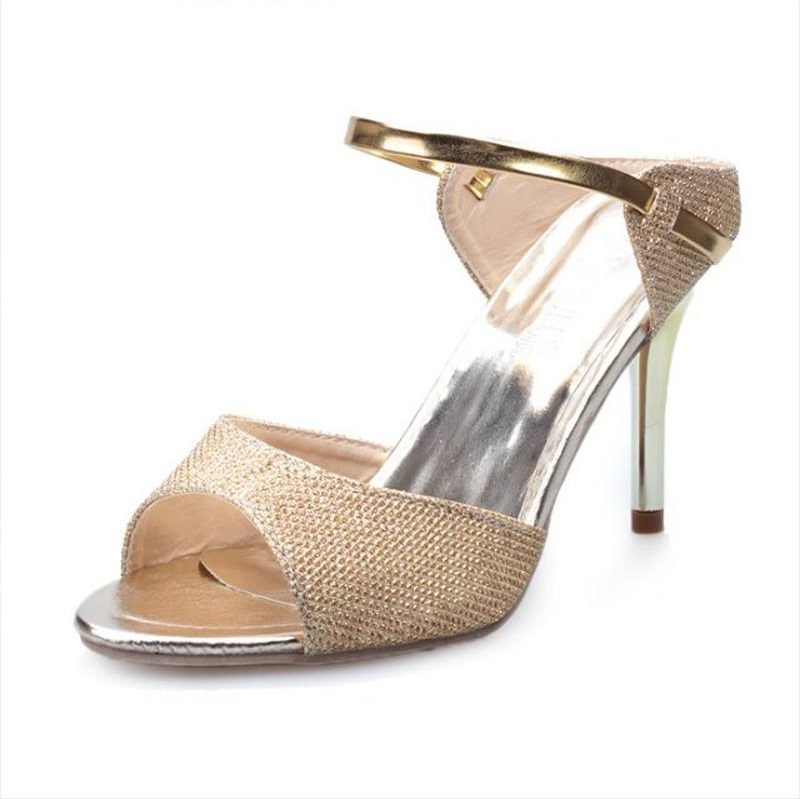 Gorgeous Golden Peep Toe Leather High Heels