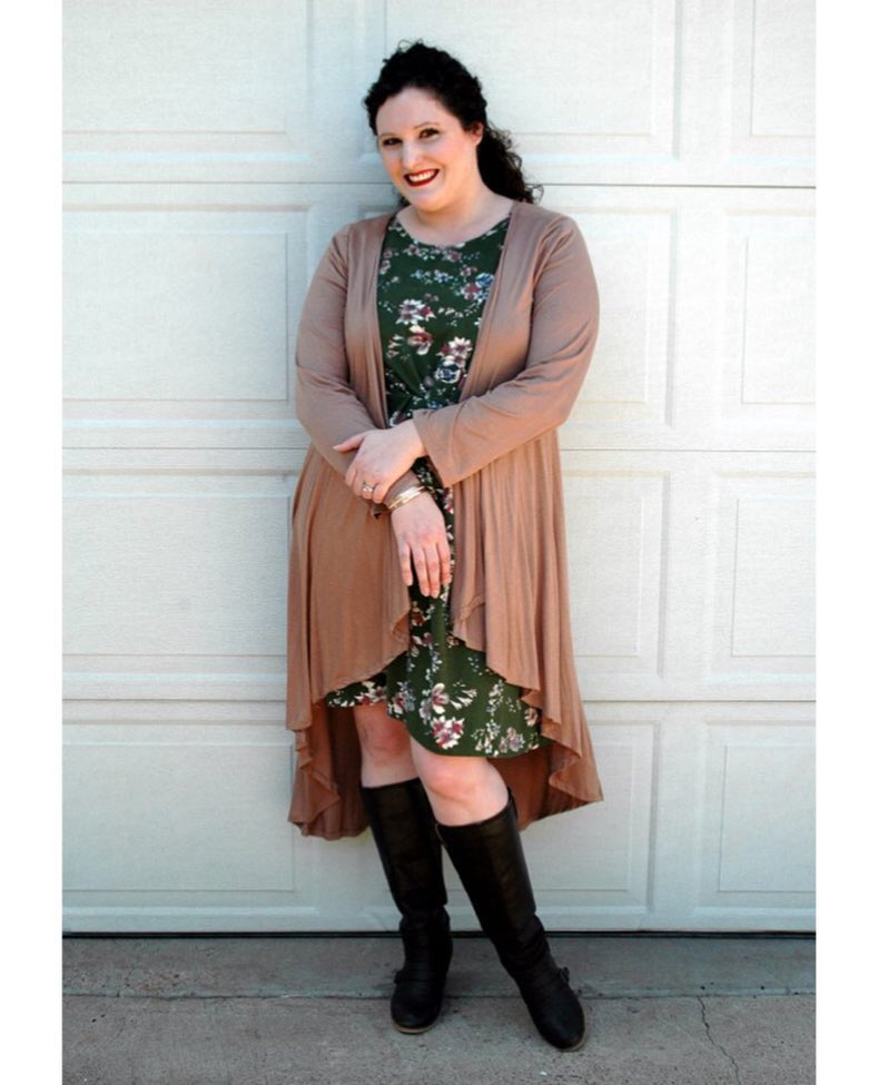 Green Floral Midi, Shrug With Knee Shoes