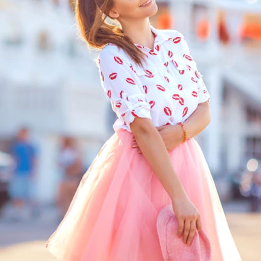 Kiss Print Button Down Shirt With Pink Fluffy Skirt