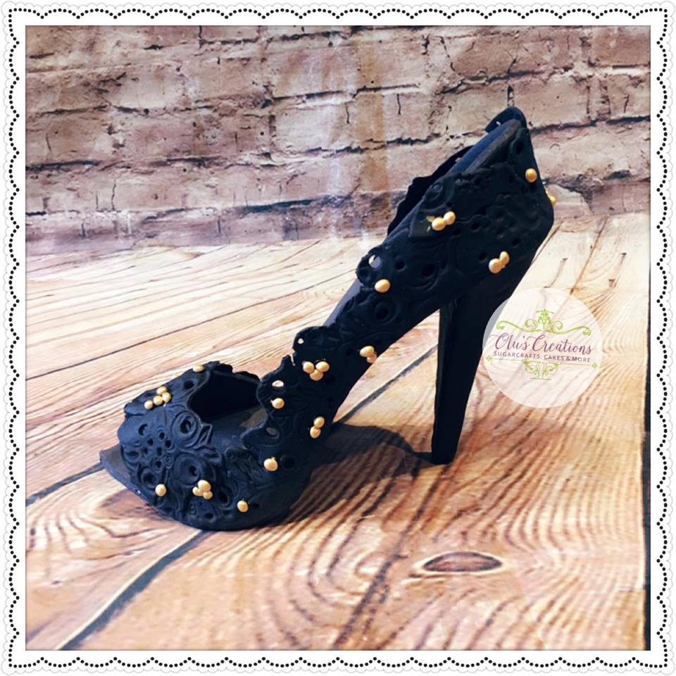 Lovely Black Designer High Heels With Pearls