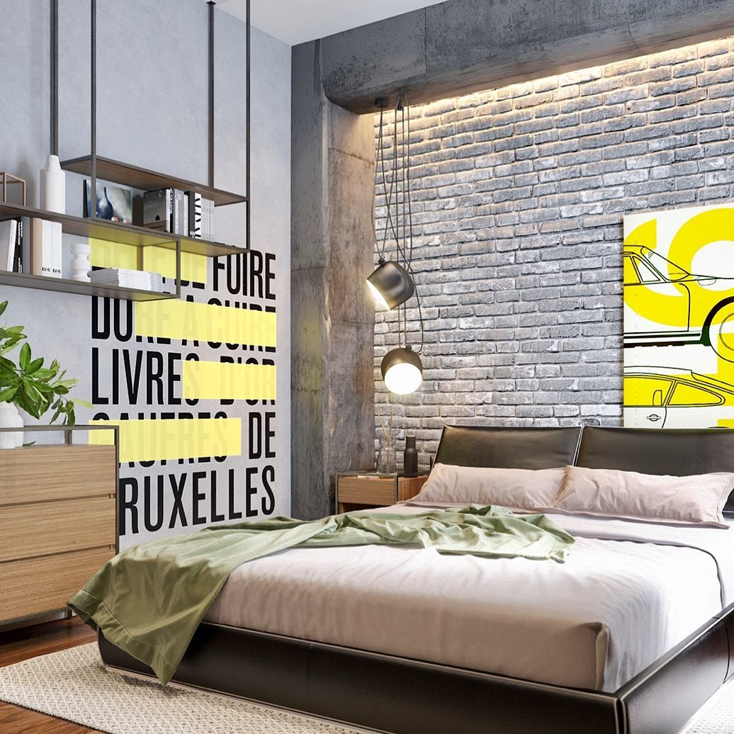 #24 Luxury Industrial Bedroom Design Via