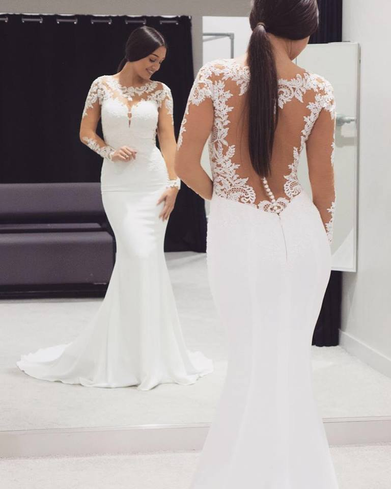 Mermaid Styled Embroidered And Lacy Wedding Gown