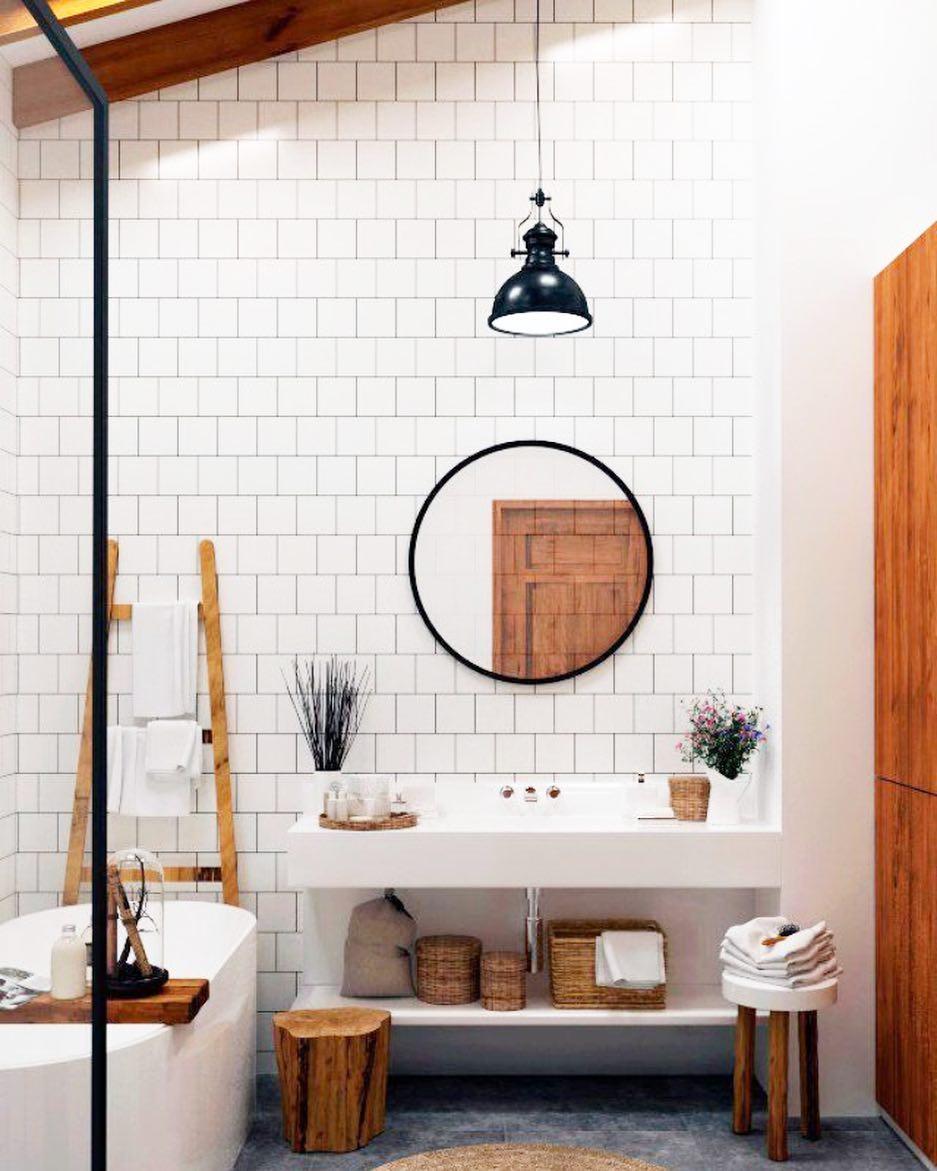 Modern, Minimalist Bathroom With Rustic Vibes