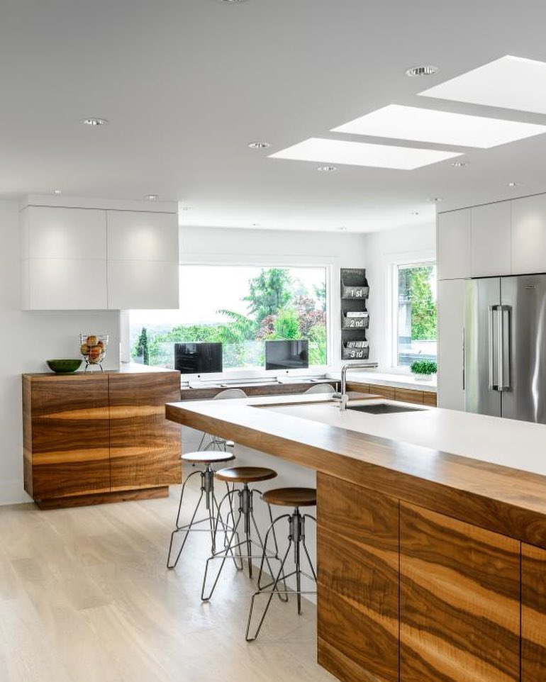 Monochromatic Modern Kitchen With Wooden Cabinets