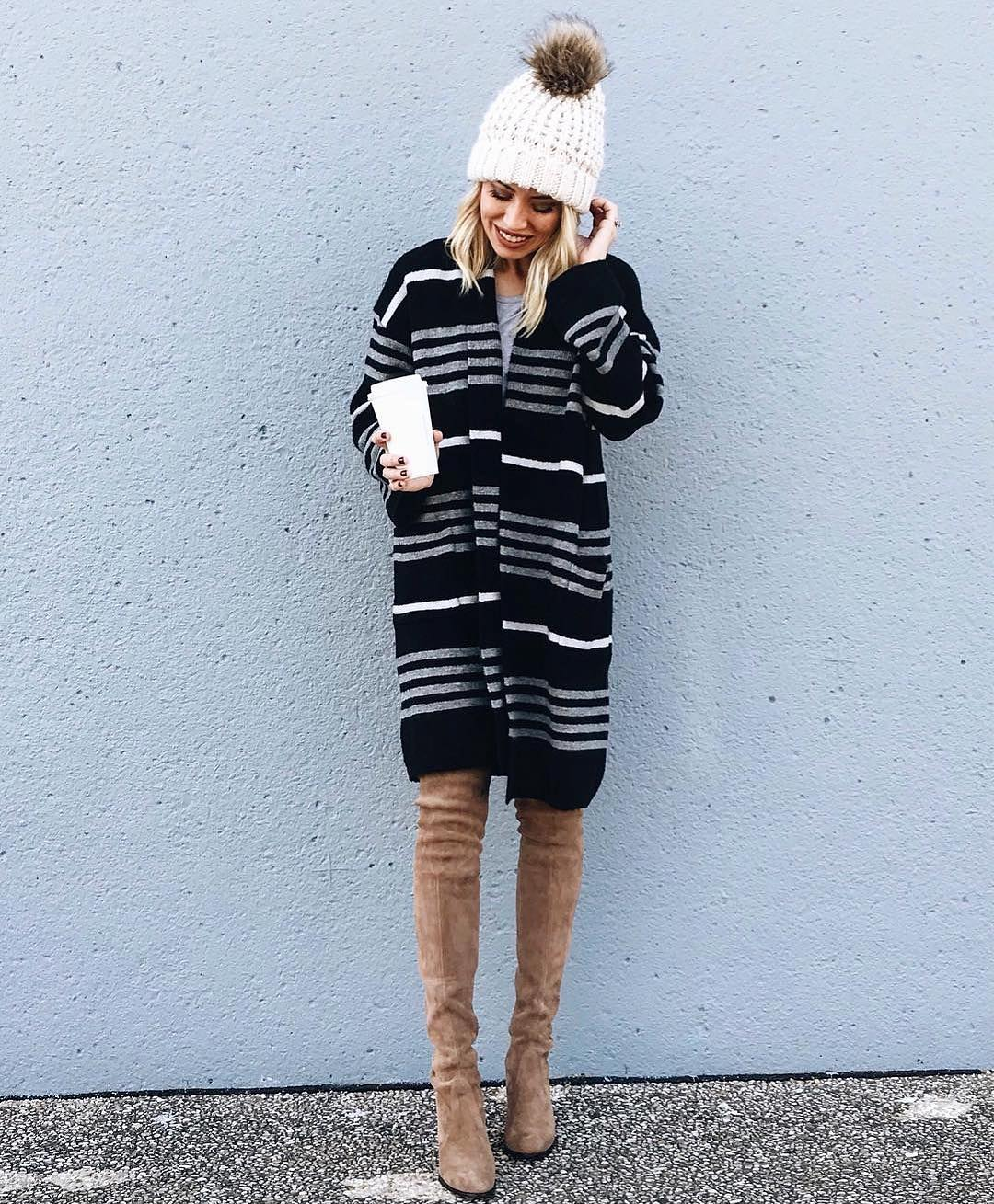 Nude Thigh Suede Shoes With Stripes Cardigan And Woolen Cap