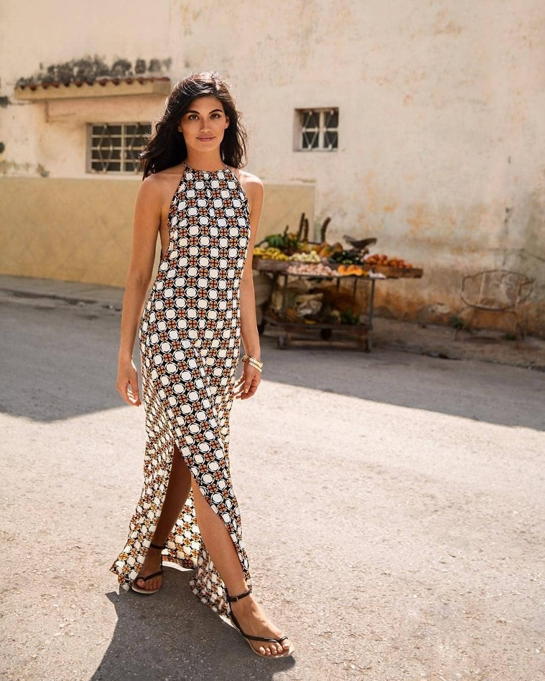 O-Neck Bold Print Sleek And Stylish Maxi Dress