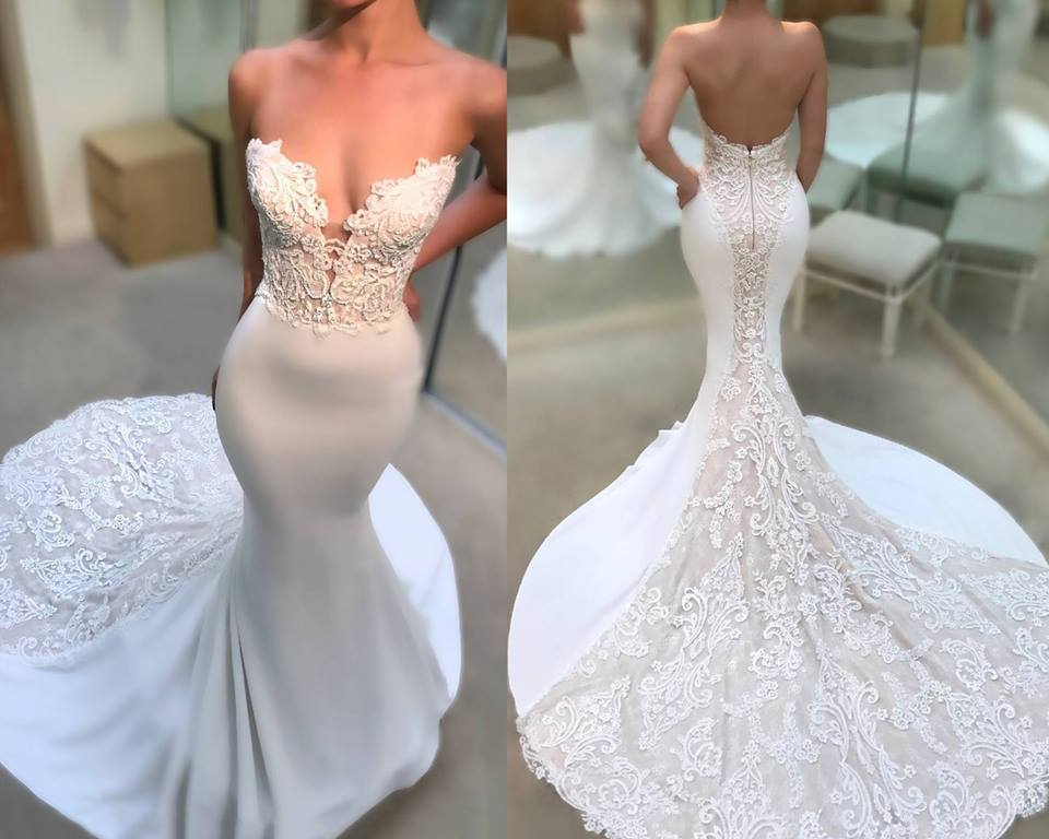 Off Shoulder Deep Neckline Sweatheart Wedding Dress