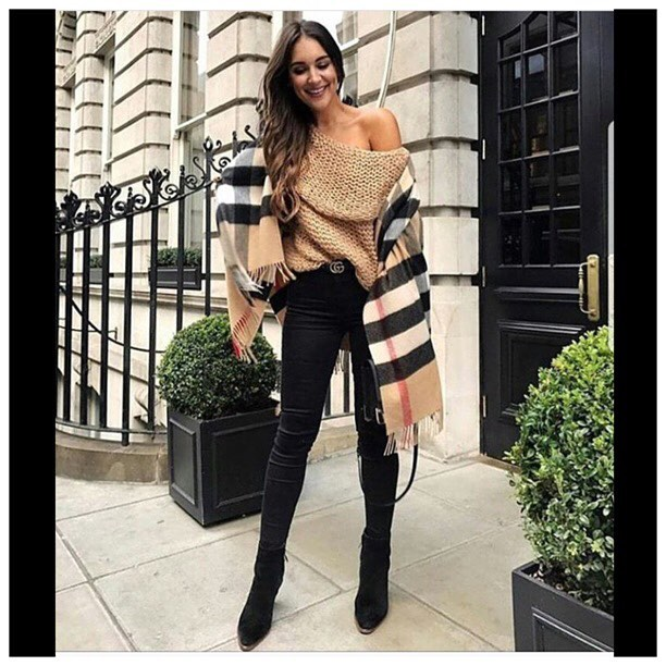 Off Shoulder Sweater Paired With Skinny Jeans, Burberry Scarf And Ankle Boots