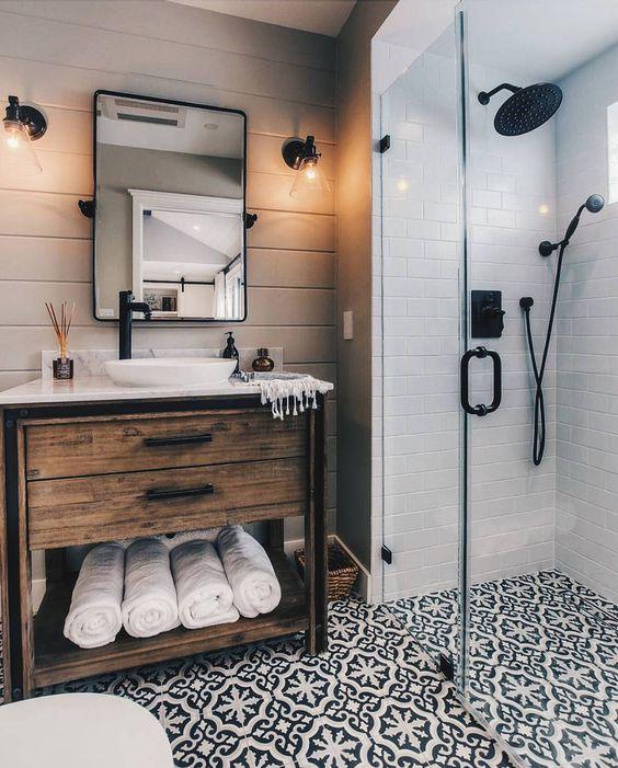 Perfect Small Rustic Bathroom With Designer Flooring