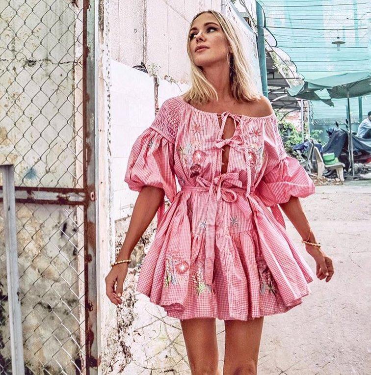 Pink Boho Style Summer Look