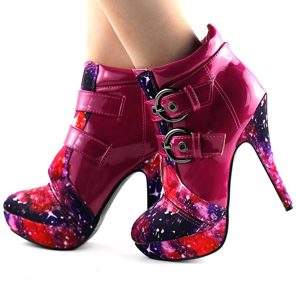 Pretty Pink Punk Buckle Night Sky High Heel Stiletto Platform Ankle Boots