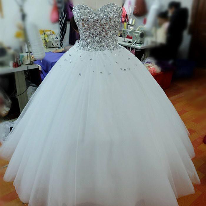 Ravishing Strapless Beaded Bodice Ball Gown Wedding Dress