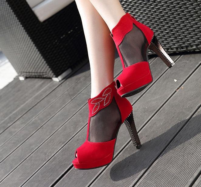 Rocking Red Peep Toe Mesh panel High Heel Pumps