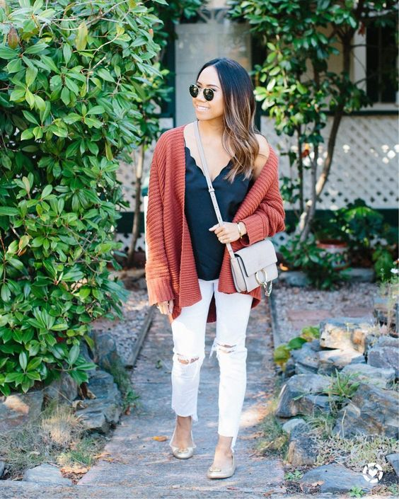 Rust Cardigan With Spaghetti Top And White Distressed Jeans