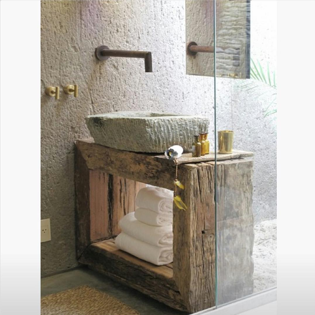 Sassy Concrete Sink, Glass Shower And Rustic Vanity