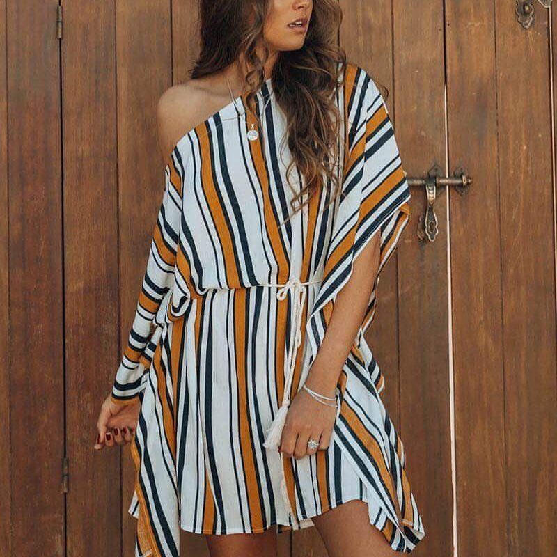 Sassy Satin Stripes One Shoulder Dress
