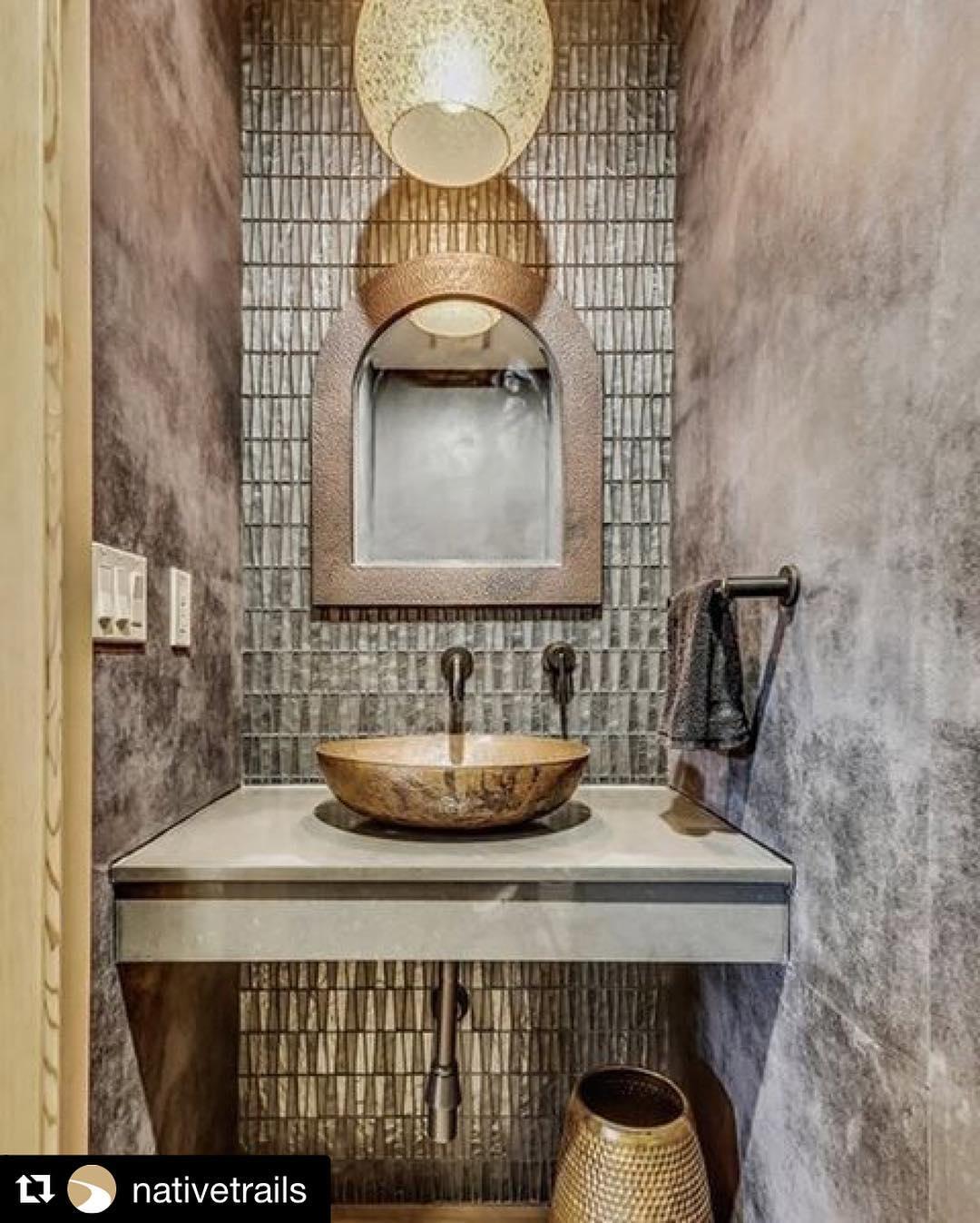 Sedona Mirror And Maestro Sonata Sink In Tempered Copper Finish Perfect For Rustic Bathroom