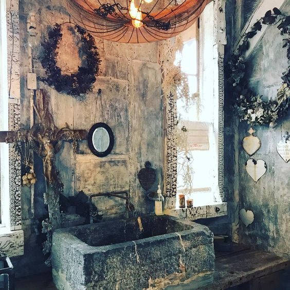 Shabby Chic Rustic Bathroom With Ecclectic Stone Sink And Accessories