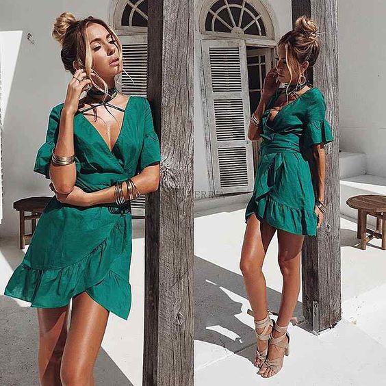 Sideways Ruffled Skirt Dress For Summer