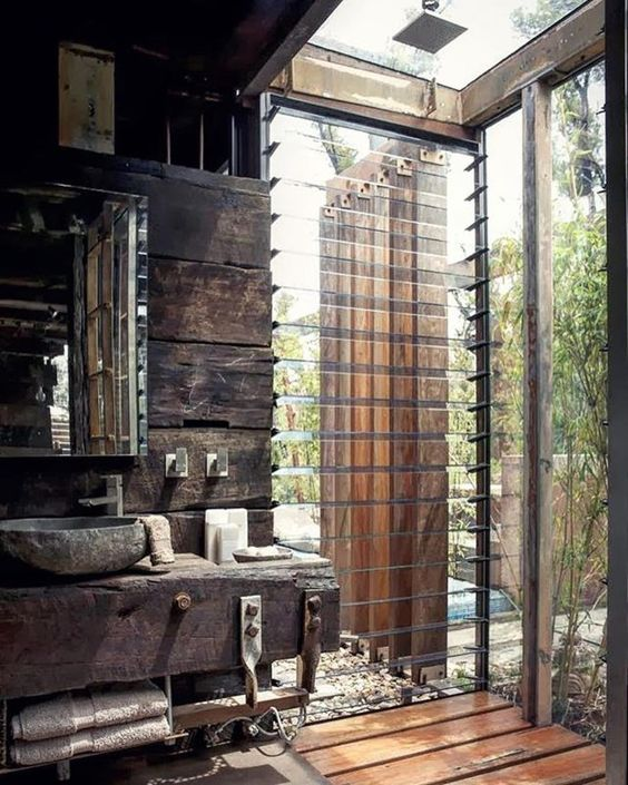 Significant Rustic Bathroom With Indoor And Outdoor Shower