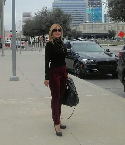 Simple Burgundy Velvet Pant With Black Sweater