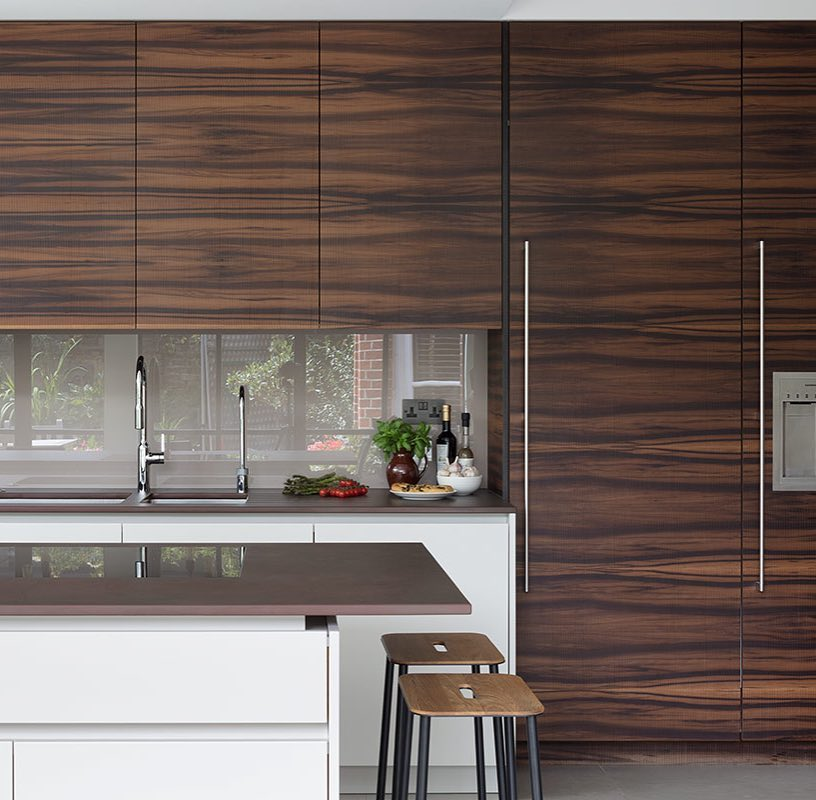 Smoked Satin Walnut Cabinets In Contemporary Kitchen