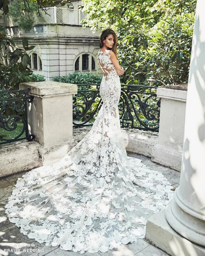 Sophisticated Floral Lace Mermaid Wedding Dress