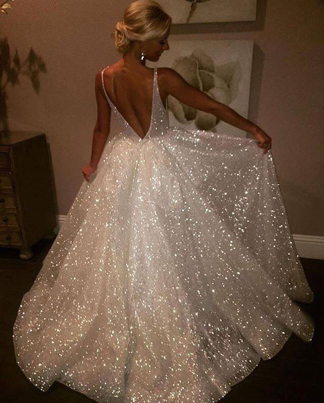 Sparkly Deep Neck Wedding Gown